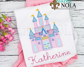 Princess Castle Sketch Embroidery Top and Shorts Set, Magical Castle