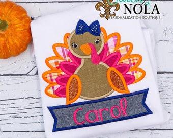 Turkey Applique with Name Banner, Turkey Applique, Thanksgiving Applique, First Thanksgiving Outfit, Turkey Embroidery, Thanksgiving Shirt