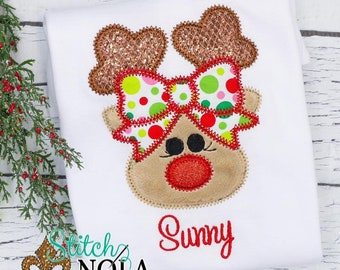 Reindeer with Polka Dot Bow Applique, Reindeer Applique, Girl Reindeer Applique, Christmas Reindeer Applique