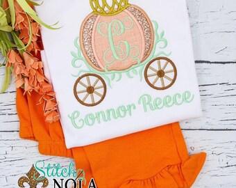 Pumpkin Princess Carriage Applique Outfit, Pumpkin Carriage Applique, Girl Pumpkin Outfit, Top and Bottom Set, Pumpkin Patch Outfit