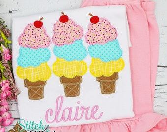 Triple Ice Cream Cone Trio Applique Shorts and Top Set, Ice Cream Cone Applique, Beach Tee, Spring Applique, Summer Applique