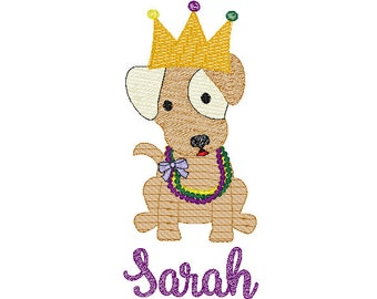 Mardi Gras Dog with Crown Hat Sketch Embroidery, Mardi Gras Dog Sketch Embroidery,  Mardi Gras Shirt