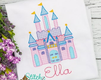 Magical Castle Sketch embroidery, princess castle, vintage castle, magical vacation