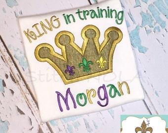 Mardi Gras Crown  King in Training Shirt, Gown or Bodysuit