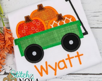 Pumpkin Wagon Applique, Pumpkin Applique, Pumpkin Shirt, Fall Applique, Girl Pumpkin Applique, Boy Pumpkin Shirt, Pumpkin Romper