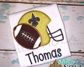 Helmet and Football Applique, Football Applique, Fleur de Helmet with Football Shirt, Romper or Bodysuit