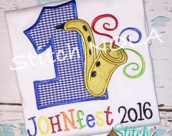 Jazzfest Birthday Shirt or Bodysuit, Saxaphone Applique, Saxaphone Shirt, Music Birthday