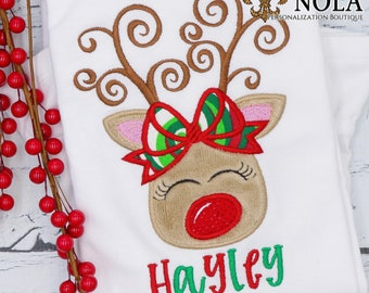Christmas Girl Reindeer Applique, Reindeer With Bow, Personalized Christmas Shirt, Holiday Shirt, Xmas
