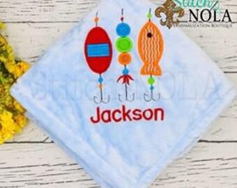 Monogrammed Baby Blanket, Fishing Lures Baby Blanket