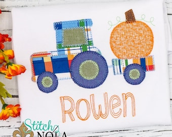 Pumpkin Tractor Applique, Pumpkin Applique, Boy Pumpkin Applique, Fall Applique, Pumpkin Patch Outfit, Tractor  Applique