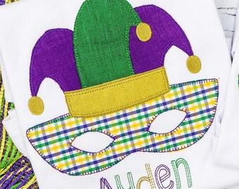 Mardi Gras Mask Applique, Mardi Gras Jester Hat Mask Applique, Mardi Gras Applique, Mardi Gras Shirt
