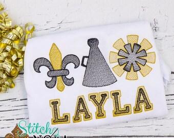 Black and Gold Cheer Sketch Shirt, Fleur De Lis Shirt, Personalized Shirt