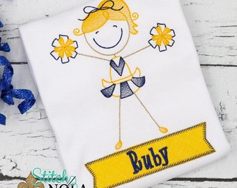 Cheerleader Sketch Embroidery, Cheerleader Spirit Shirt, Cheerleader Embroidery, Football Spirit Shirt,  Stick Figure Cheerleader