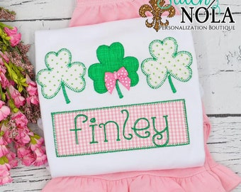 Shamrock Trio With Name Box Top And Bottom Set, Clovers With Bow Applique, St Patrick's Day Applique, St Pattys Shirt, Girl St Pattys Outfit