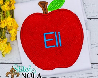 Apple Applique, Back to School Shirt, Monogrammed Back to School Shirt, Personalized Back to School