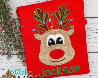 Reindeer with Lights Applique, Girl Reindeer with Bow Applique, Boy Reindeer Applique, Rudolph Applique, Christmas Shirt, XMAS Pics