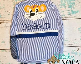 Seersucker Backpack with Tiger, Seersucker Diaper Bag, Seersucker School Bag, Seersucker Bag, Diaper Bag, School Bag, Book Bag, Backpack