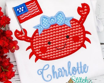 Patriotic Crab Applique, Girl Crab Applique, Boy Crab Applique, Patriotic Applique, Fourth of July Shirt, Memorial Day Shirt,