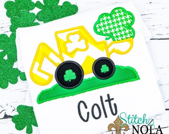 St Patrick's Day Digger Backhoe Applique, St Patrick's Day Excavator applique, Shamrock Applique, Shamrock Shirt