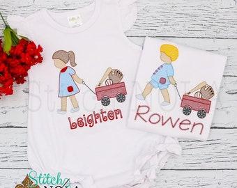 Baseball Wagon Sketch Embroidery, Girl with Baseball Wagon, Boy with Baseball Wagon, Baseball Sketch Embroidery