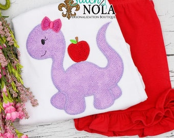 Girl Dinosaur with Apple Shirt and Short Set, Back to School Shirt,  Back to School Outfit