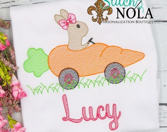 Girl Bunny in Carrot Car Sketch, Easter Sketch Embroidery, Spring Embroidery, Easter Shirt, Girl Easter Shirt
