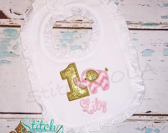 1st birthday Glitter Elephant Bib