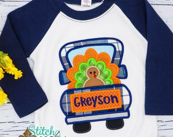 Turkey in Truck Appliqué, Turkey Appliqué, Truck Appliqué, Thanksgiving Appliqué, Thanksgiving Shirt