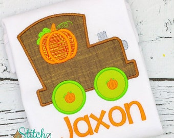 Pumpkin train appliqué, pumpkin train, pumpkin shirt, train shirt, fall short, pumpkin train shirt