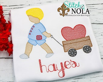 Child Pulling Heart Wagon Sketch Embroidery, Boy Pulling Heart Wagon, Girl Pulling Heart Wagon, Valentine's Day Shirt