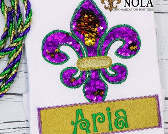 Flip Sequins Mardi Gras Fleur de lis with Name Box Applique, Mardi Gras Applique, Mardi Gras Shirt, Fleur de lis Shirt, Mardi Gras Applique
