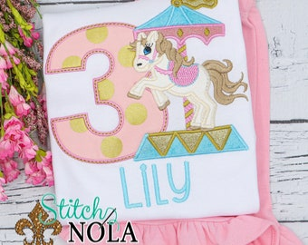 Carousel Birthday Applique Top and Bottom Set, Carousel Birthday Outfit, Girls Birthday Outfit, Carousel Birthday