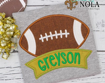 Football with Banner on Colored Shirt, Football Applique, Green and Gold Football, Personalized Football Shirt