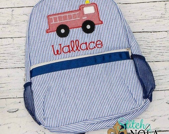 Seersucker Backpack with Firetruck, Seersucker Diaper Bag, Seersucker School Bag, Seersucker Bag, Diaper Bag, School Bag, Book Bag, Backpack