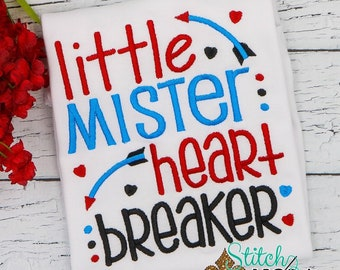 Little Mister Heart Breaker, Heart Sketch Embroidery, Valentines Day Embroidery