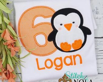 Penguin Birthday Applique, Birthday Number Applique, Winter Birthday Shirt, Penguin Outfit, Penguin Birthday Shirt