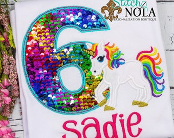 Flip Sequin Birthday Unicorn Applique, Rainbow and Silver Flip Sequins, Rainbow Unicorn Applique, Sequined Alpha Applique