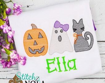 Halloween Trio Sketch Embroidery, Vintage Pumpkin, Ghost, Black Cat, Vintage Halloween Trio