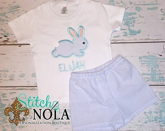 Hippity Hop Bunny Top & Shorts Set, Bunny Applique, Bunny Shirt and Shorts Set, Bunny Shirt, Seersucker Shorts