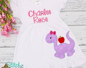 Girl Dinosaur with Apple Applique, Back to School Shirt, Monogrammed Back to School Shirt, Personalized Back to School