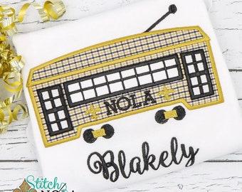 Black and Gold Streetcar Applique, Streetcar Applique, Black and Gold Football, New Orleans Streetcar, New Orleans Football