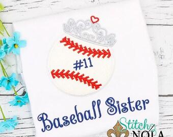 Baseball Sister, Baseball Tiara Applique, Girl Basesball Shirt, Bodysuit, Romper or Bubble, Girl Baseball Applique, Girly Baseball Shirt