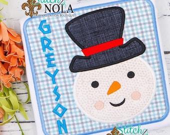 Snowman Appliqué, Snowman Appliqué Square, Winter Shirt, Personalized Snowman Shirt