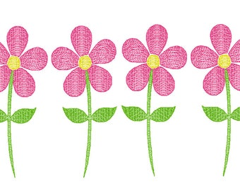 Flowers Sketch Embroidery, Daisy Sketch Embroidery, Vintage Flowers