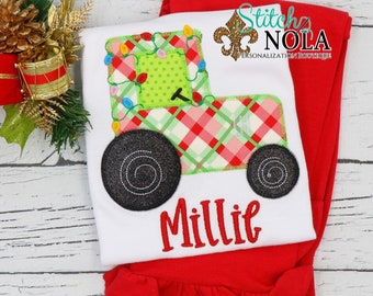 Christmas Girl Tractor Applique Top And Bottom Set, Tractor with Lights Christmas Appliqué, Xmas Outfit, Christmas Outfit