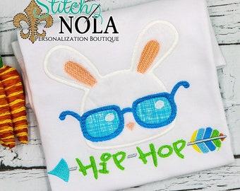 HIP HOP Bunny APPLIQUE, Bunny Applique, Rabbit Applique, Easter Applique, Rabbit with Glasses, Easter Shirt