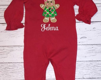 Red Long Sleeve  Romper with Gingerbread Applique/Name