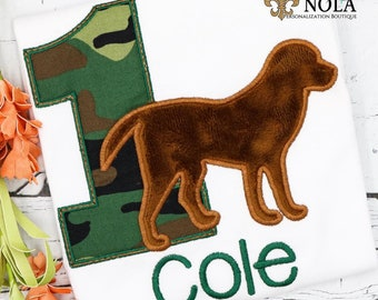 Dog Birthday Applique, Hunting Dog Birthday Applique, Labrador Birthday, Camo Birthday, Hunting Birthday, Camouflage