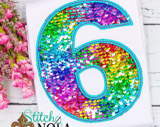 Featured listing image: Flip Sequins Birthday Number Applique, Sequined Number Applique, Sparkly Number Applique, Girly Number