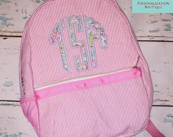 Seersucker Backpack Scallop Circle Monogram Applique, Seersucker Diaper Bag, Seersucker School Bag, Seersucker Bag, Diaper Bag, School Bag,